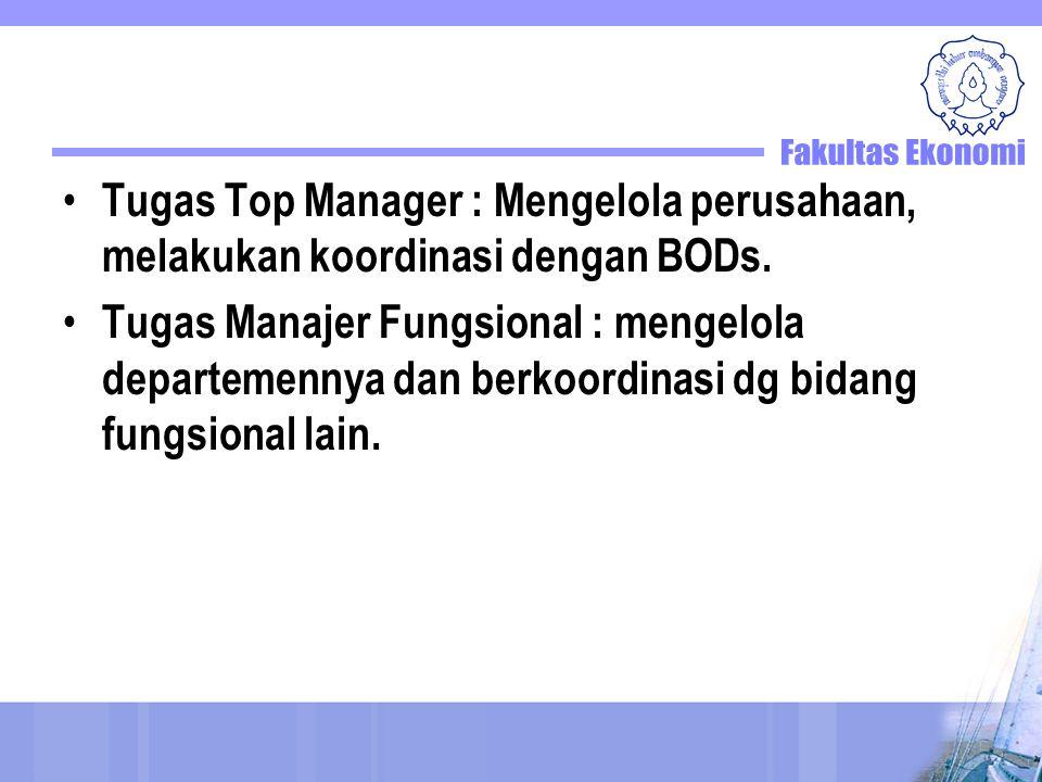 Tugas Top Manager : Mengelola perusahaan, melakukan koordinasi dengan BODs.
