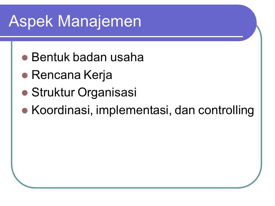 Aspek Manajemen Bentuk badan usaha Rencana Kerja Struktur Organisasi Koordinasi, implementasi, dan controlling