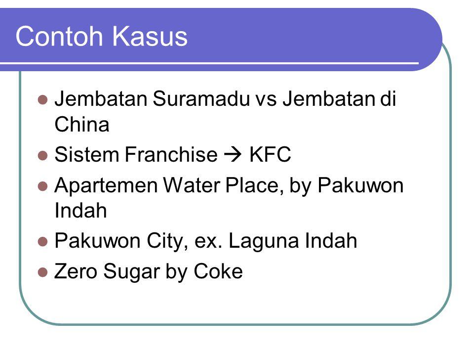 Contoh Kasus Jembatan Suramadu vs Jembatan di China Sistem Franchise  KFC Apartemen Water Place, by Pakuwon Indah Pakuwon City, ex.