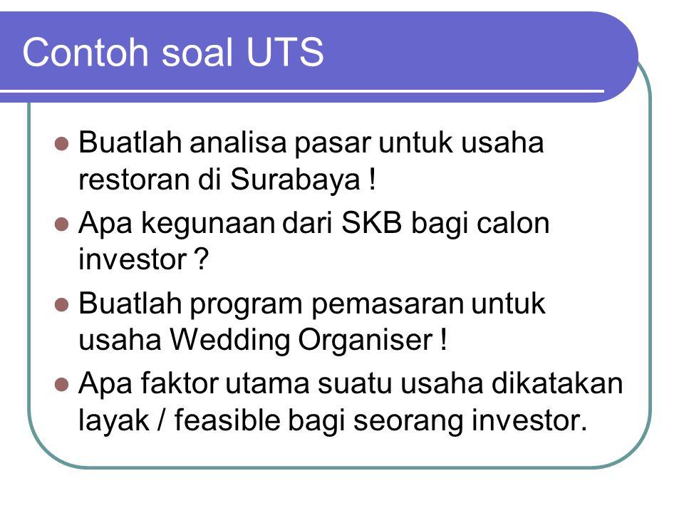 Contoh soal UTS Buatlah analisa pasar untuk usaha restoran di Surabaya .
