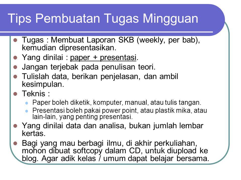 Tips Pembuatan Tugas Mingguan Tugas : Membuat Laporan SKB (weekly, per bab), kemudian dipresentasikan.