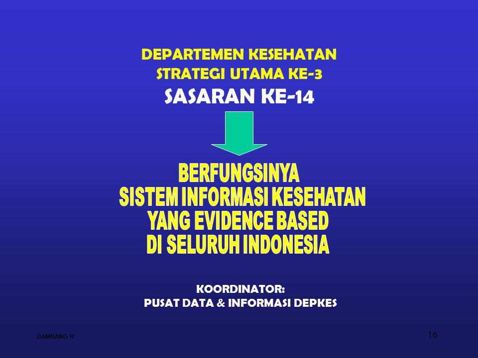 16 DEPARTEMEN KESEHATAN STRATEGI UTAMA KE-3 SASARAN KE-14 KOORDINATOR: PUSAT DATA & INFORMASI DEPKES BAMBANG H