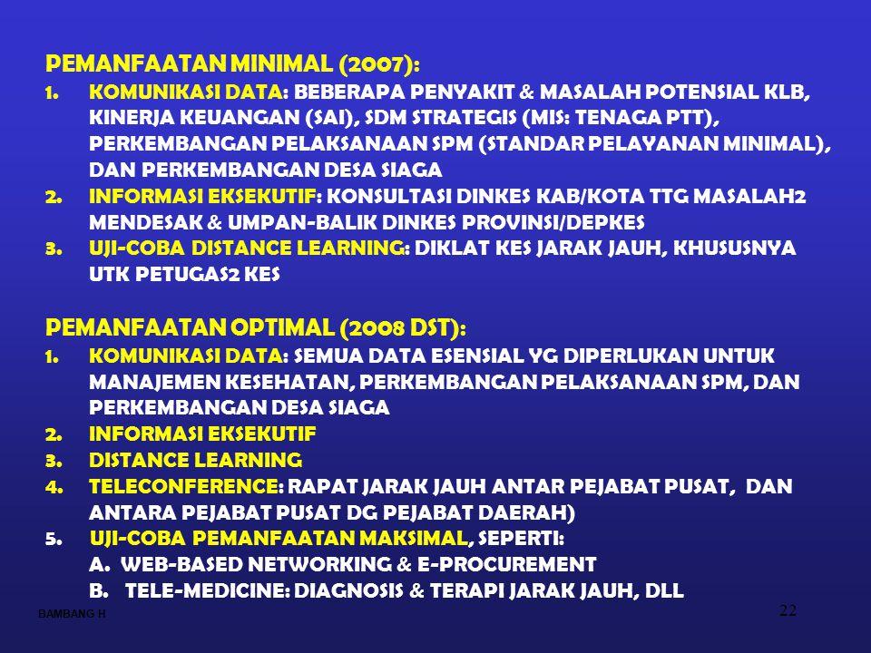 22 PEMANFAATAN MINIMAL (2007): 1.KOMUNIKASI DATA: BEBERAPA PENYAKIT & MASALAH POTENSIAL KLB, KINERJA KEUANGAN (SAI), SDM STRATEGIS (MIS: TENAGA PTT),