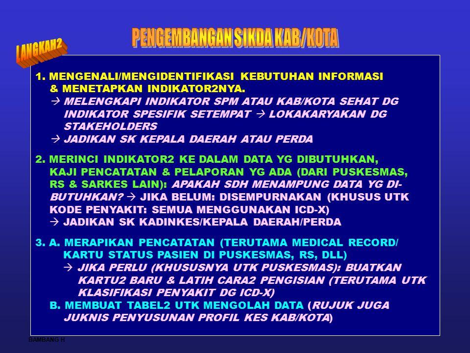 26 1. MENGENALI/MENGIDENTIFIKASI KEBUTUHAN INFORMASI & MENETAPKAN INDIKATOR2NYA.  MELENGKAPI INDIKATOR SPM ATAU KAB/KOTA SEHAT DG INDIKATOR SPESIFIK