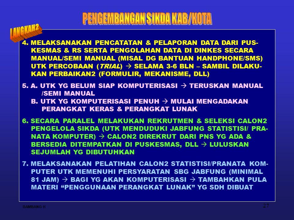 27 4. MELAKSANAKAN PENCATATAN & PELAPORAN DATA DARI PUS- KESMAS & RS SERTA PENGOLAHAN DATA DI DINKES SECARA MANUAL/SEMI MANUAL (MISAL DG BANTUAN HANDP