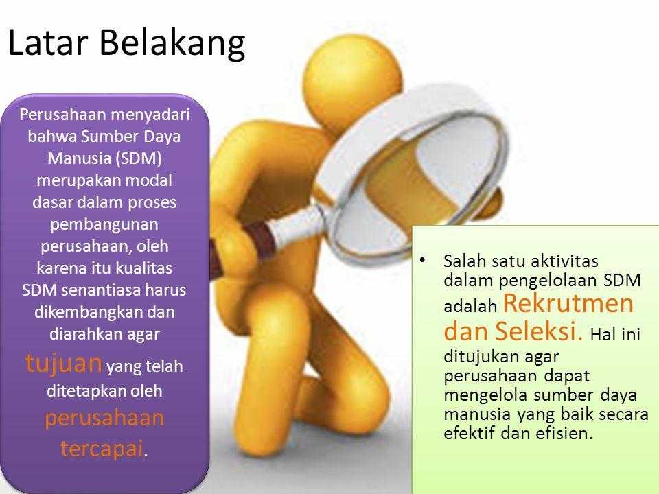 Latar Belakang Salah satu aktivitas dalam pengelolaan SDM adalah Rekrutmen dan Seleksi. Hal ini ditujukan agar perusahaan dapat mengelola sumber daya