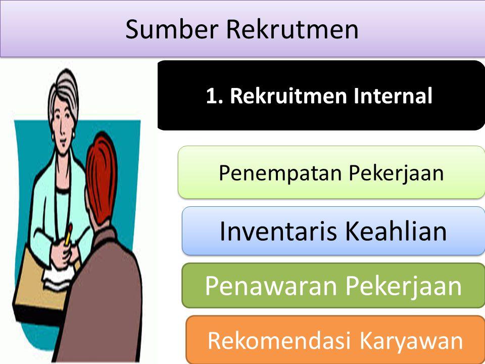 Sumber Rekrutmen 1. Rekruitmen Internal Penempatan Pekerjaan Penempatan Pekerjaan Inventaris Keahlian Penawaran Pekerjaan Rekomendasi Karyawan