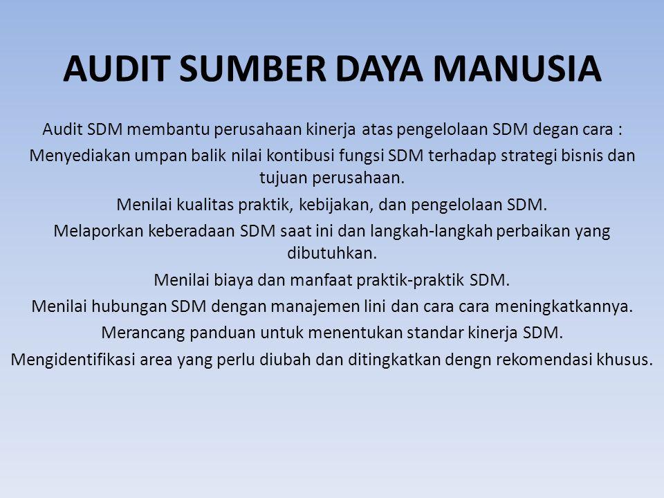 AUDIT SUMBER DAYA MANUSIA Audit SDM membantu perusahaan kinerja atas pengelolaan SDM degan cara : Menyediakan umpan balik nilai kontibusi fungsi SDM terhadap strategi bisnis dan tujuan perusahaan.