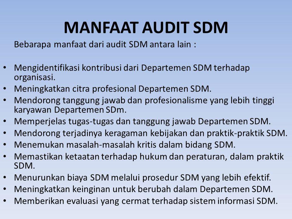 MANFAAT AUDIT SDM Bebarapa manfaat dari audit SDM antara lain : Mengidentifikasi kontribusi dari Departemen SDM terhadap organisasi. Meningkatkan citr