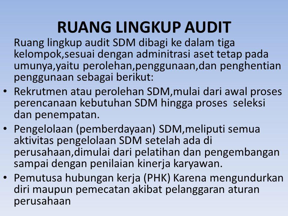 RUANG LINGKUP AUDIT Ruang lingkup audit SDM dibagi ke dalam tiga kelompok,sesuai dengan adminitrasi aset tetap pada umunya,yaitu perolehan,penggunaan,