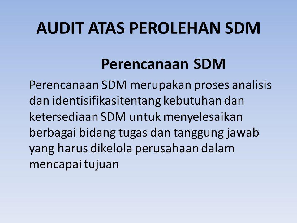 AUDIT ATAS PEROLEHAN SDM Perencanaan SDM Perencanaan SDM merupakan proses analisis dan identisifikasitentang kebutuhan dan ketersediaan SDM untuk menyelesaikan berbagai bidang tugas dan tanggung jawab yang harus dikelola perusahaan dalam mencapai tujuan