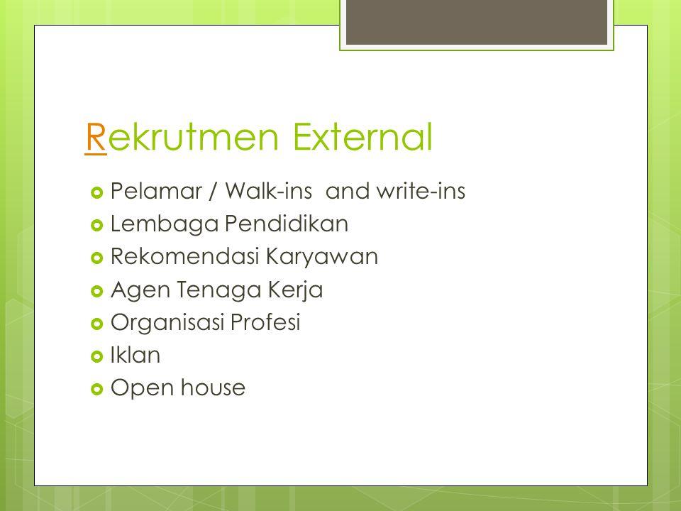RRekrutmen External  Pelamar / Walk-ins and write-ins  Lembaga Pendidikan  Rekomendasi Karyawan  Agen Tenaga Kerja  Organisasi Profesi  Iklan 
