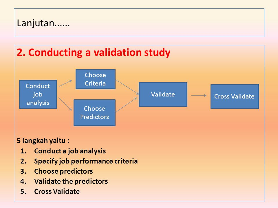 2. Conducting a validation study 5 langkah yaitu : 1.Conduct a job analysis 2.Specify job performance criteria 3.Choose predictors 4.Validate the pred