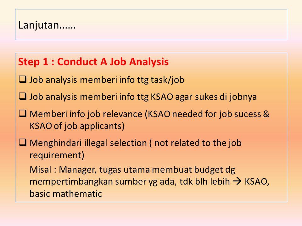 Step 1 : Conduct A Job Analysis  Job analysis memberi info ttg task/job  Job analysis memberi info ttg KSAO agar sukes di jobnya  Memberi info job