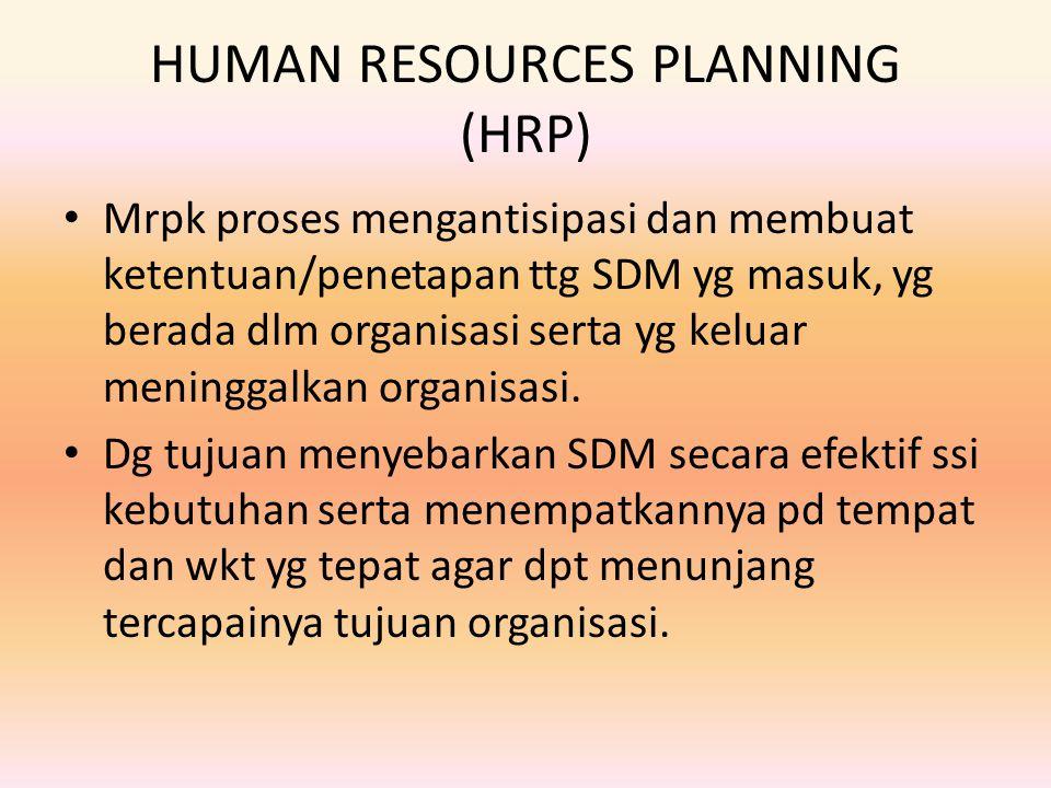 HUMAN RESOURCES PLANNING (HRP) Mrpk proses mengantisipasi dan membuat ketentuan/penetapan ttg SDM yg masuk, yg berada dlm organisasi serta yg keluar m