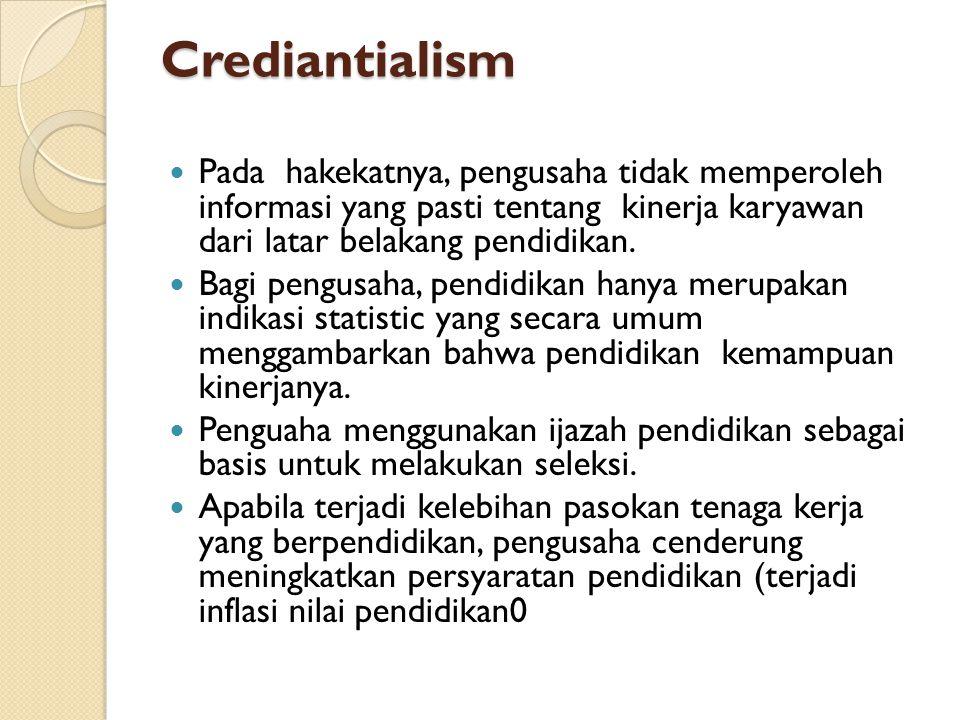 Crediantialism Pada hakekatnya, pengusaha tidak memperoleh informasi yang pasti tentang kinerja karyawan dari latar belakang pendidikan. Bagi pengusah