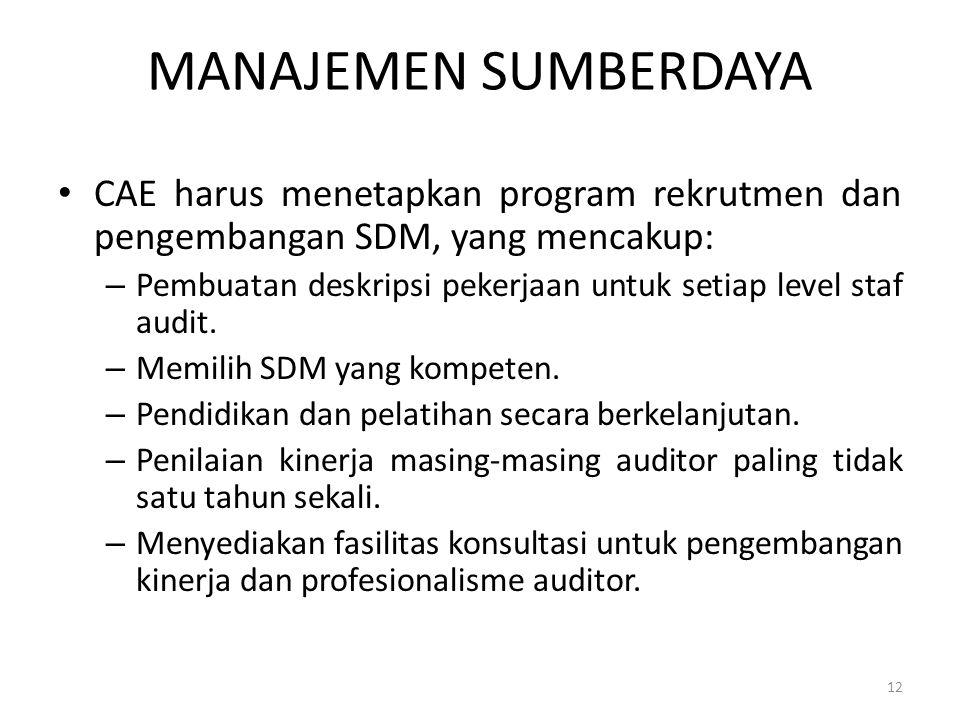 MANAJEMEN SUMBERDAYA CAE harus menetapkan program rekrutmen dan pengembangan SDM, yang mencakup: – Pembuatan deskripsi pekerjaan untuk setiap level st