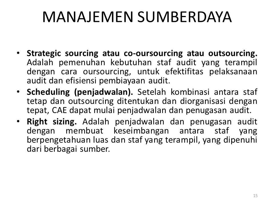 MANAJEMEN SUMBERDAYA Strategic sourcing atau co-oursourcing atau outsourcing. Adalah pemenuhan kebutuhan staf audit yang terampil dengan cara oursourc