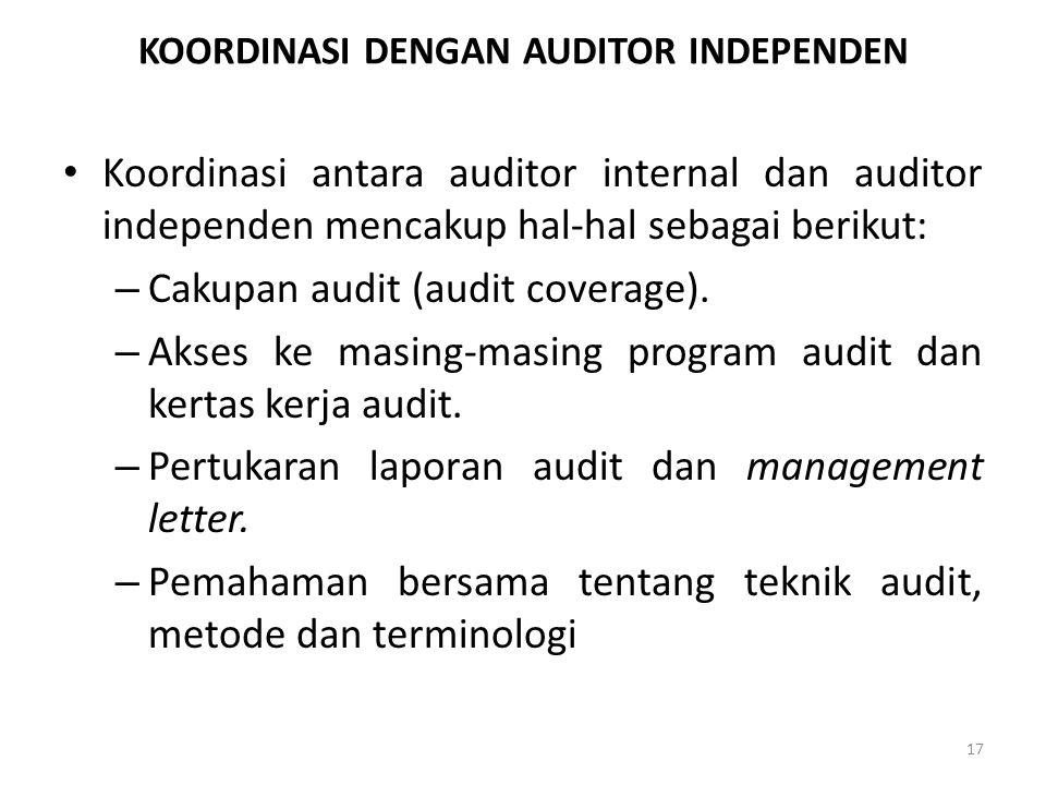 KOORDINASI DENGAN AUDITOR INDEPENDEN Koordinasi antara auditor internal dan auditor independen mencakup hal-hal sebagai berikut: – Cakupan audit (audi