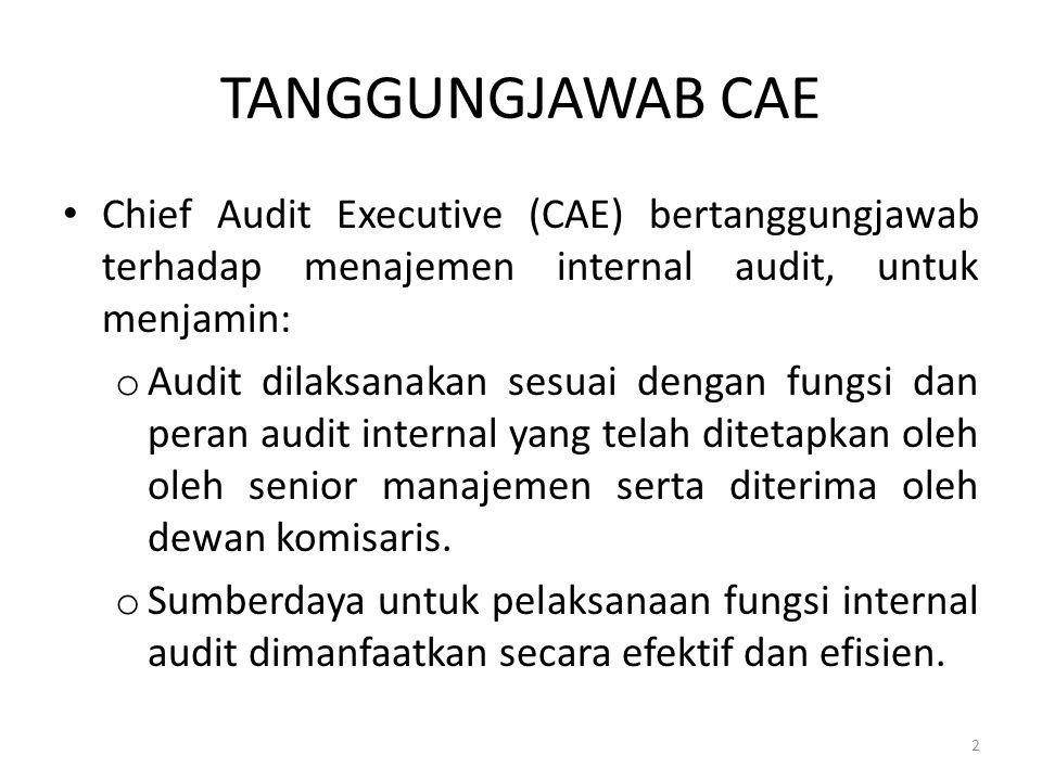 TANGGUNGJAWAB CAE Chief Audit Executive (CAE) bertanggungjawab terhadap menajemen internal audit, untuk menjamin: o Audit dilaksanakan sesuai dengan f
