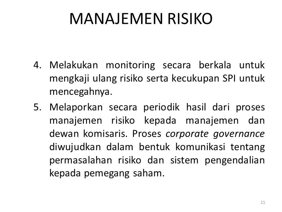 MANAJEMEN RISIKO 4.Melakukan monitoring secara berkala untuk mengkaji ulang risiko serta kecukupan SPI untuk mencegahnya. 5.Melaporkan secara periodik