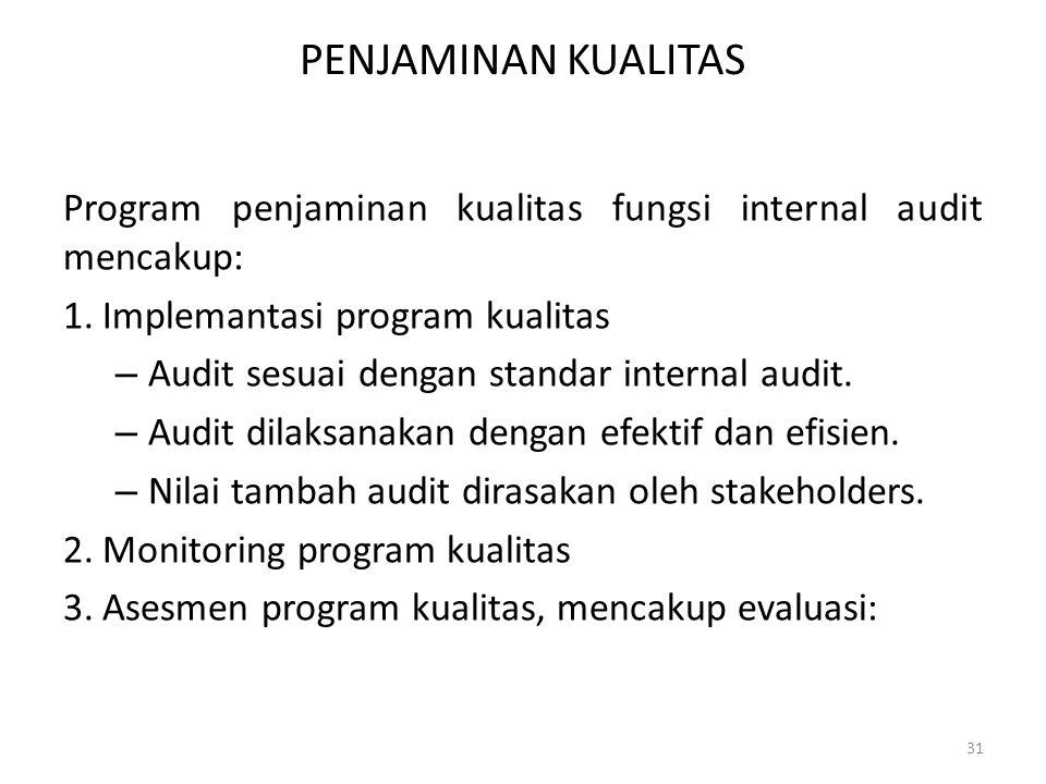 PENJAMINAN KUALITAS Program penjaminan kualitas fungsi internal audit mencakup: 1.Implemantasi program kualitas – Audit sesuai dengan standar internal
