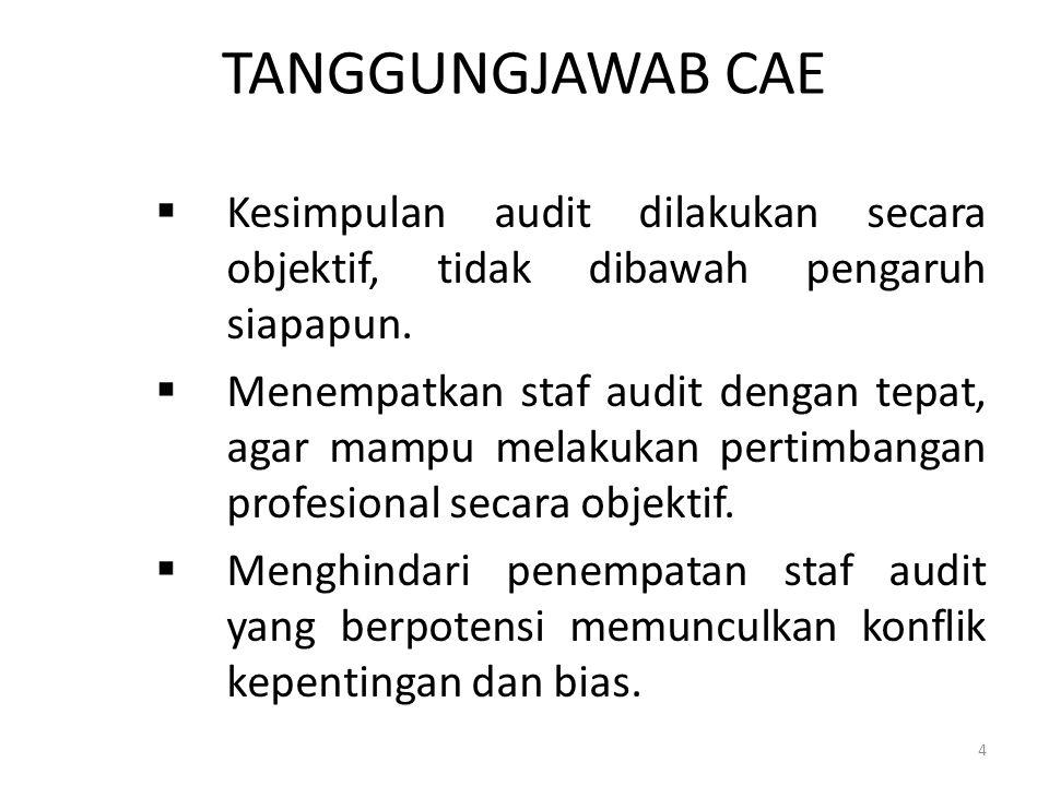 TANGGUNGJAWAB CAE  Kesimpulan audit dilakukan secara objektif, tidak dibawah pengaruh siapapun.  Menempatkan staf audit dengan tepat, agar mampu mel
