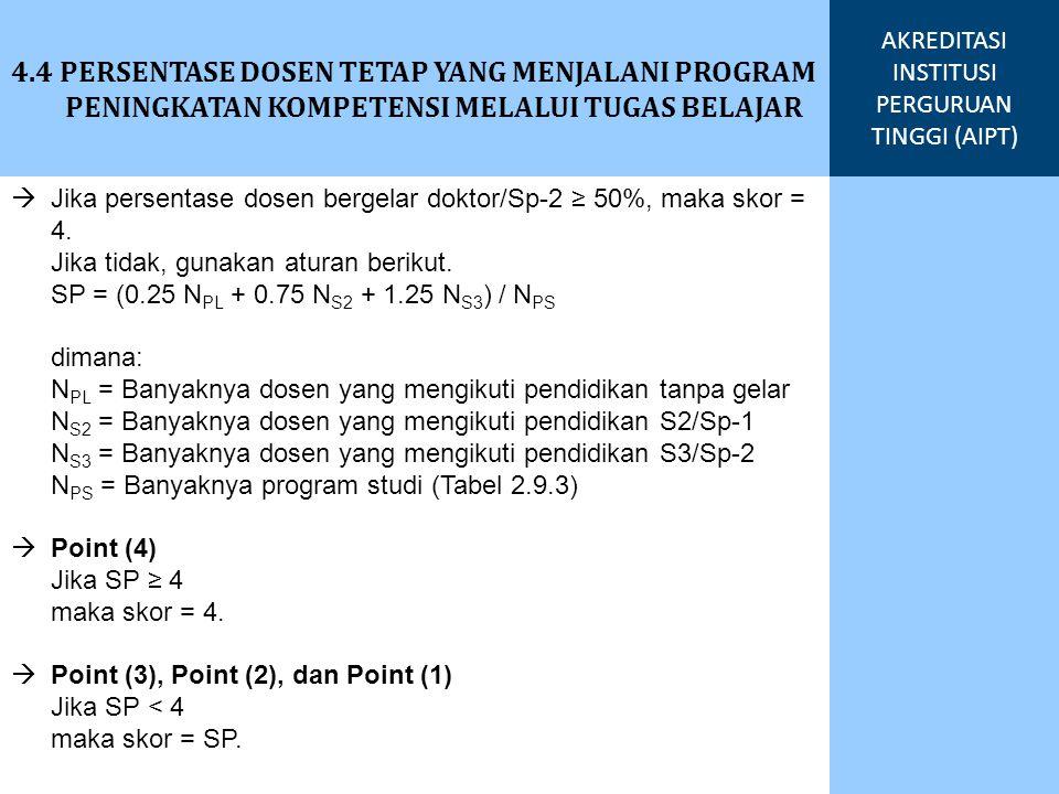  Jika persentase dosen bergelar doktor/Sp-2 ≥ 50%, maka skor = 4. Jika tidak, gunakan aturan berikut. SP = (0.25 N PL + 0.75 N S2 + 1.25 N S3 ) / N P