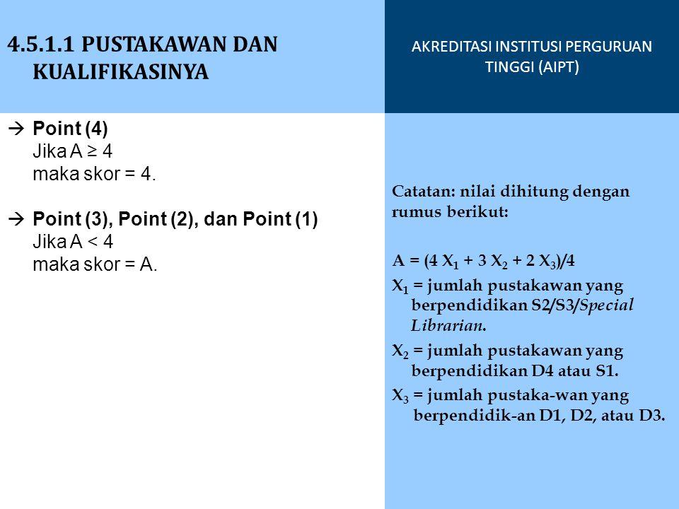  Point (4) Jika A ≥ 4 maka skor = 4.  Point (3), Point (2), dan Point (1) Jika A < 4 maka skor = A. 4.5.1.1 PUSTAKAWAN DAN KUALIFIKASINYA AKREDITASI