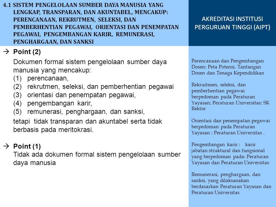  Point (2) Dokumen formal sistem pengelolaan sumber daya manusia yang mencakup: (1) perencanaan, (2) rekrutmen, seleksi, dan pemberhentian pegawai (3