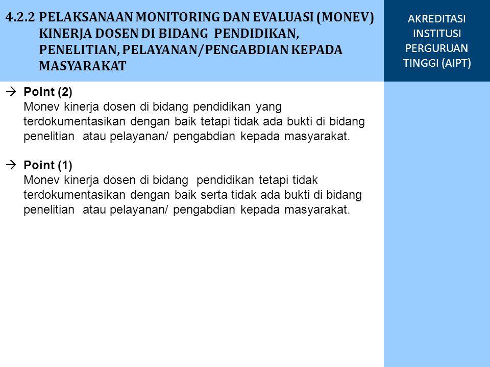 4.2.2 PELAKSANAAN MONITORING DAN EVALUASI (MONEV) KINERJA DOSEN DI BIDANG PENDIDIKAN, PENELITIAN, PELAYANAN/PENGABDIAN KEPADA MASYARAKAT AKREDITASI INSTITUSI PERGURUAN TINGGI (AIPT) Fakultas Semester Genap 2010/2011 Semester Ganjil 2011/2012 Keterangan MemenuhiTidak MemenuhiMemenuhiTidak Memenuhi FE%% Prosentase laporan per semester berdasarkan jumlah dosen pada masing-masing unit yang melaporkan kinerjanya terhadap jumlah dosen yang berkewajiban membuat laporan semesteran FH%% FTSP%% FTI%% FPSB%% FMIPA%% FK%% FIAI%% %% Lain-lain%% Pejabat Negara/Sedang studi/tidak membuat LKD
