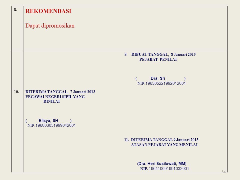 8. REKOMENDASI Dapat dipromosikan 9. DIBUAT TANGGAL, 8 Januari 2013 PEJABAT PENILAI ( Dra. Sri ) NIP. 196305221992012001 10.DITERIMA TANGGAL, 7 Januar