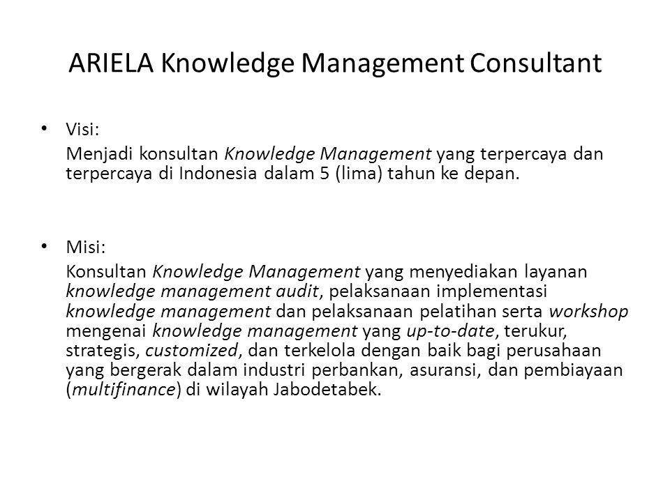 ARIELA Knowledge Management Consultant Visi: Menjadi konsultan Knowledge Management yang terpercaya dan terpercaya di Indonesia dalam 5 (lima) tahun ke depan.