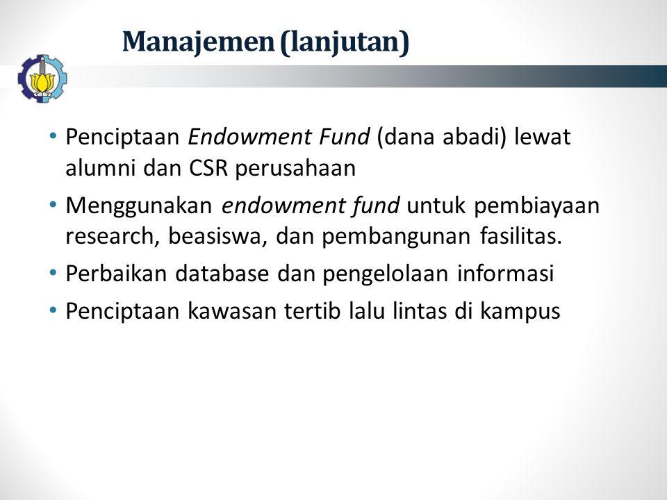 Manajemen (lanjutan) Penciptaan Endowment Fund (dana abadi) lewat alumni dan CSR perusahaan Menggunakan endowment fund untuk pembiayaan research, beasiswa, dan pembangunan fasilitas.