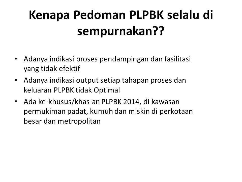 Kenapa Pedoman PLPBK selalu di sempurnakan?? Adanya indikasi proses pendampingan dan fasilitasi yang tidak efektif Adanya indikasi output setiap tahap