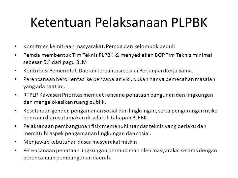Ketentuan Pelaksanaan PLPBK Komitmen kemitraan masyarakat, Pemda dan kelompok peduli Pemda membentuk Tim Teknis PLPBK & menyediakan BOP Tim Teknis min
