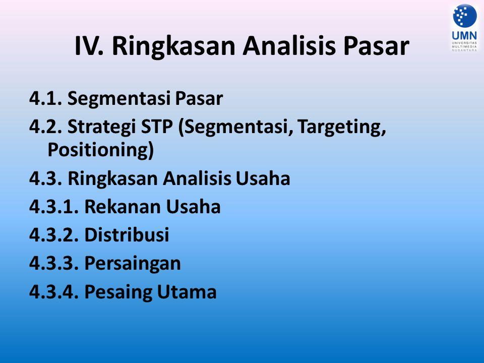 V.Ringkasan Strategi dan Implementasi 5.1. Strategi Produk 5.2.