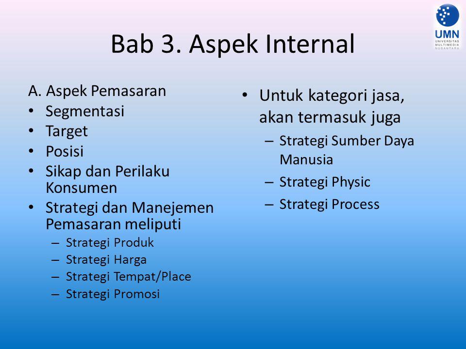 Bab 3. Aspek Internal B. Aspek Manajemen Perencanaan Pengorganisasian Pelaksanaan Pengontrolan