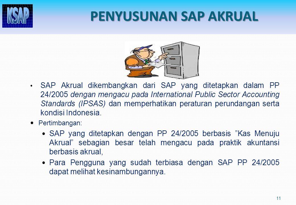 11 SAP Akrual dikembangkan dari SAP yang ditetapkan dalam PP 24/2005 dengan mengacu pada International Public Sector Accounting Standards (IPSAS) dan