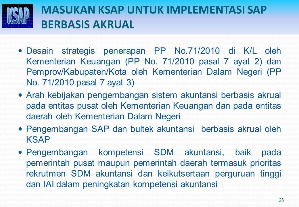 MASUKAN KSAP UNTUK IMPLEMENTASI SAP BERBASIS AKRUAL Desain strategis penerapan PP No.71/2010 di K/L oleh Kementerian Keuangan (PP No. 71/2010 pasal 7