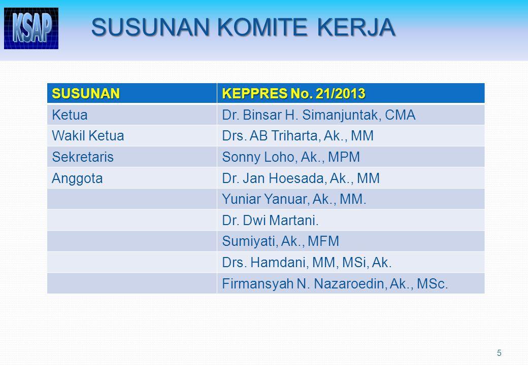 SUSUNAN KOMITE KERJA SUSUNAN KEPPRES No. 21/2013 KetuaDr. Binsar H. Simanjuntak, CMA Wakil KetuaDrs. AB Triharta, Ak., MM SekretarisSonny Loho, Ak., M