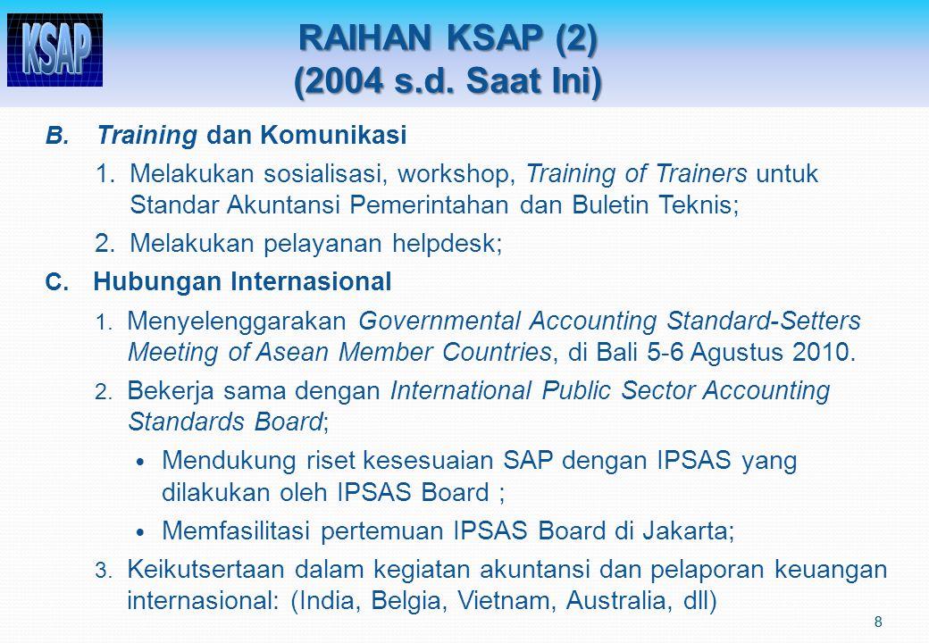 RAIHAN KSAP (2) (2004 s.d. Saat Ini) 8 B. Training dan Komunikasi 1.Melakukan sosialisasi, workshop, Training of Trainers untuk Standar Akuntansi Peme