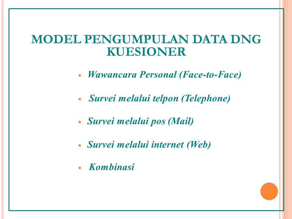 MODEL PENGUMPULAN DATA DNG KUESIONER  Wawancara Personal (Face-to-Face)  Survei melalui telpon (Telephone)  Survei melalui pos (Mail)  Survei melalui internet (Web)  Kombinasi