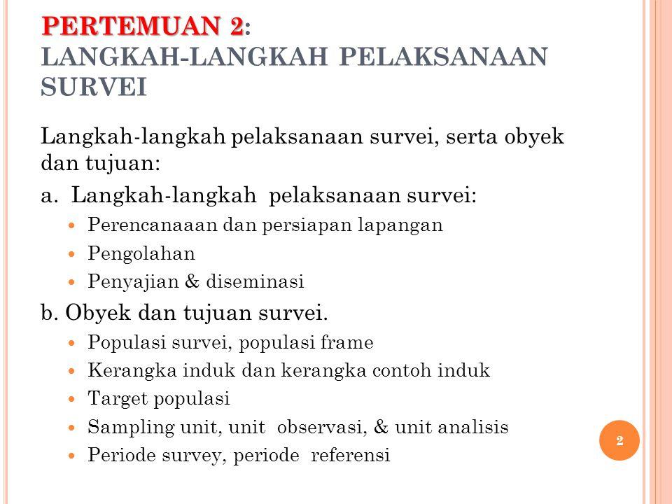 PERTEMUAN 2 PERTEMUAN 2: LANGKAH-LANGKAH PELAKSANAAN SURVEI Langkah-langkah pelaksanaan survei, serta obyek dan tujuan: a.