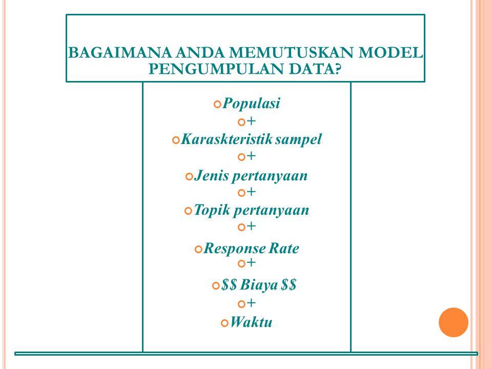 BAGAIMANA ANDA MEMUTUSKAN MODEL PENGUMPULAN DATA.