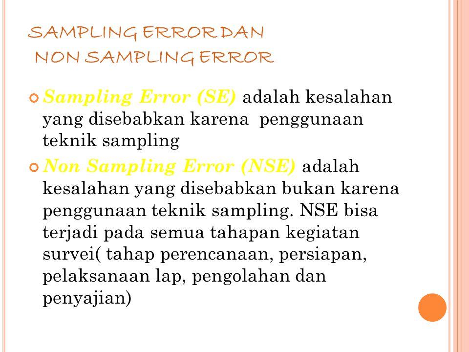 66 SAMPLING ERROR DAN NON SAMPLING ERROR Sampling Error (SE) adalah kesalahan yang disebabkan karena penggunaan teknik sampling Non Sampling Error (NSE) adalah kesalahan yang disebabkan bukan karena penggunaan teknik sampling.
