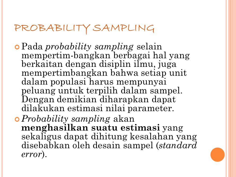 67 PROBABILITY SAMPLING Pada probability sampling selain mempertim-bangkan berbagai hal yang berkaitan dengan disiplin ilmu, juga mempertimbangkan bahwa setiap unit dalam populasi harus mempunyai peluang untuk terpilih dalam sampel.