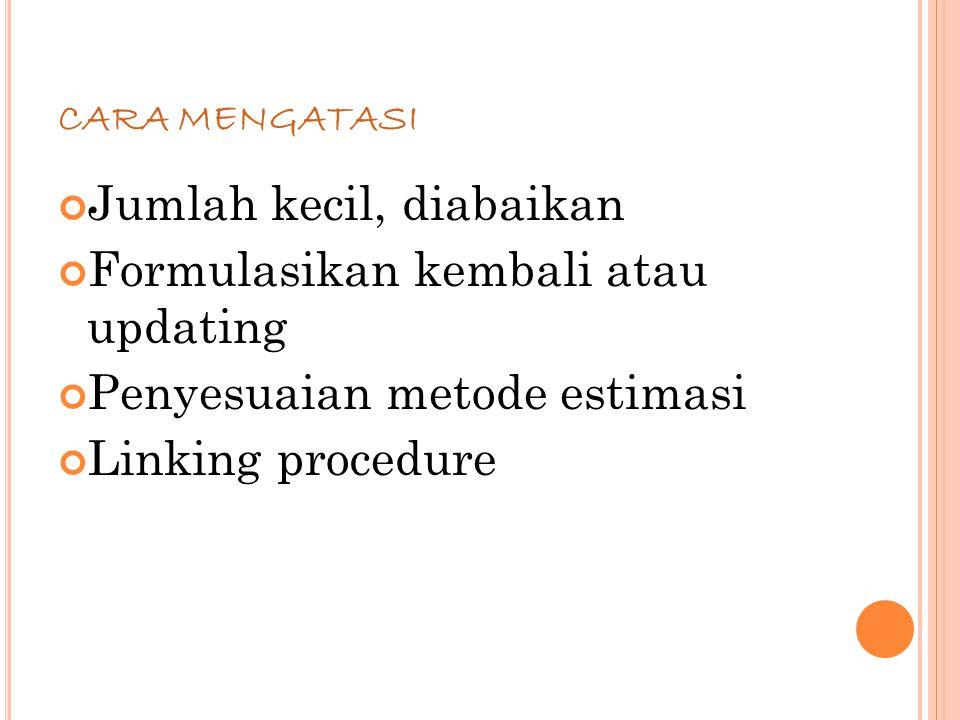 79 CARA MENGATASI Jumlah kecil, diabaikan Formulasikan kembali atau updating Penyesuaian metode estimasi Linking procedure