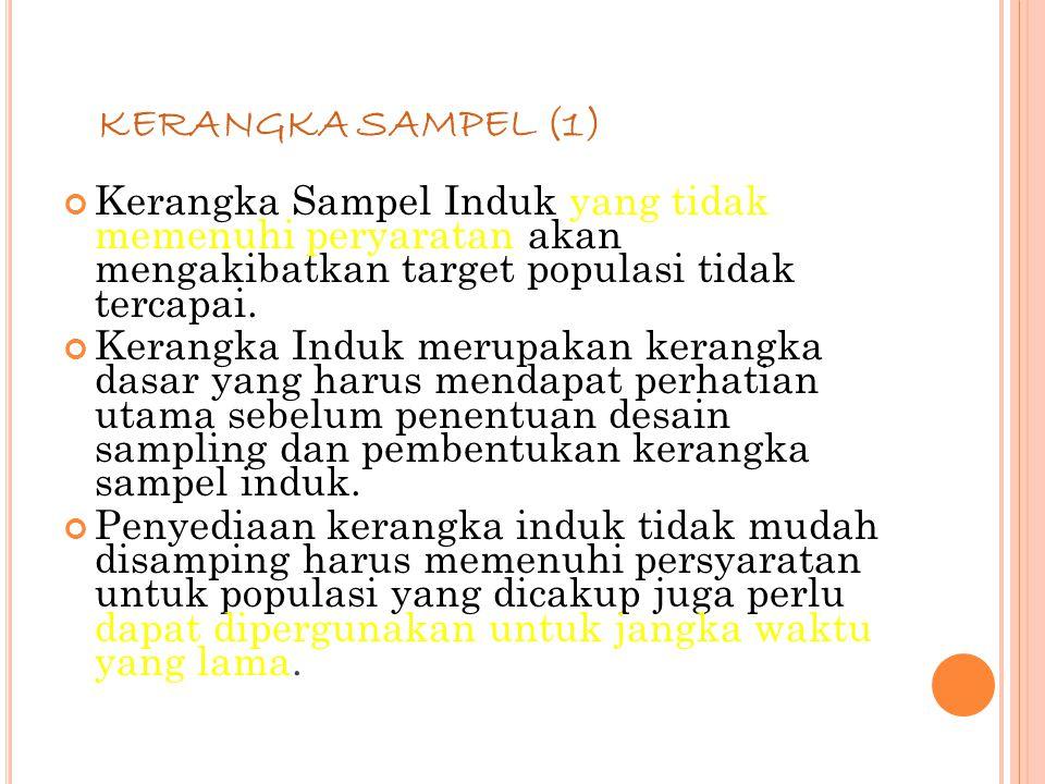 81 KERANGKA SAMPEL (1) Kerangka Sampel Induk yang tidak memenuhi peryaratan akan mengakibatkan target populasi tidak tercapai.