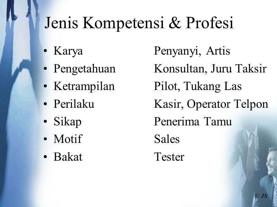 KaryaPenyanyi, Artis PengetahuanKonsultan, Juru Taksir KetrampilanPilot, Tukang Las PerilakuKasir, Operator Telpon SikapPenerima Tamu MotifSales Bakat